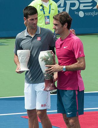 Djokovic–Federer rivalry - Djokovic and Federer at the 2015 Cincinnati Masters final.