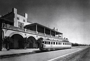 "Railway stations in Libya - Fiat train ""Littorina"" at Tripoli Station"