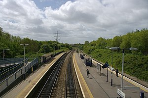 Filton Abbey Wood railway station - View south from the footbridge.