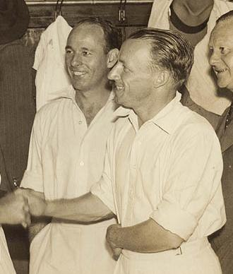 Jack Fingleton - Fingleton (c) with Bradman (r)