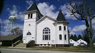First Universalist Church of Lyons, Ohio - Front of church from Morenci Street