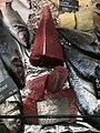 Fiskebryggen, Mathallen, Fishmarket, Bergen, Norway 2018-03-16. Dicentrarchus labrax (European bass, havabbor), Thunnus (tuna, tunfisk), lutefisk, Sparus aurata (Gilt-head bream, dorade), etc. Fjellskål sea food store.jpg