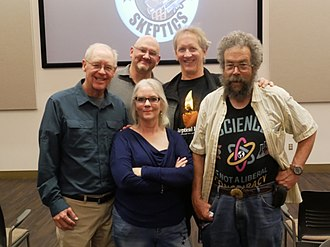 Skeptical movement - Susan Gerbic of GSoW and four other CSI fellows in 2018: (left to right: Kendrick Frazier, Ben Radford, Mark Boslough, and Dave Thomas)