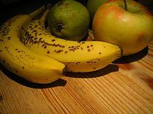 Due banane con pera e mela. Le piccole macchie marroni sulla buccia mostrano che questi due frutti sono ad uno stadio perfetto di maturazione ed ideali per il consumo.