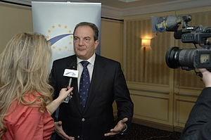 New Democracy (Greece) - Kostas Karamanlis giving an interview at a 2008 EPP summit