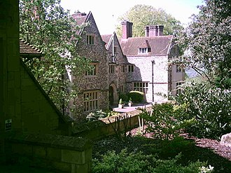 Goring-on-Thames - Flint House, on a hill is a large flint cobblestone house in a Tudor style converted partly to offices and used by police forces nationally for the purpose of rehabilitation.