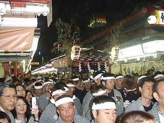 Sanja Matsuri - A music float is carried down Nakamise-dōri late Sunday night