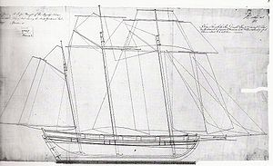 Baltimore Clipper - Drawing for the Flying Fish class, modeled on an American vessel, sent to Bermudian builders by the Admiralty.