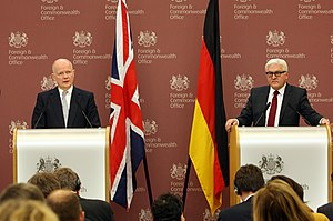 Germany–United Kingdom relations - UK Foreign Secretary William Hague and Frank-Walter Steinmeier, German Minister for Foreign Affairs in London, 3 February 2014.