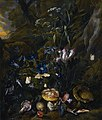 Forest floor still life with flowers, mushrooms, butterflies, snake, frog and dragonfly by Snuffelaer.jpg
