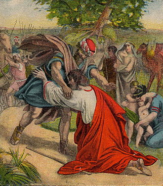 Conflict resolution - The Reconciliation of Jacob and Esau (illustration from a Bible card published 1907 by the Providence Lithograph Company)