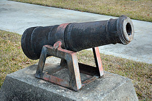 Fort Morris Historic Site - A cannon from Fort Morris, on display at the Liberty County Courthouse in Hinesville, GA, U.S.