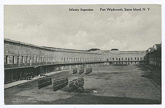 Fort Tompkins (Staten Island) - Image: Fort Tompkins infantry inspection