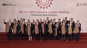 Japan–Peru relations - Japanese Prime Minister Shinzō Abe attending the 28th APEC Summit in Peru hosted by Peruvian President Pedro Pablo Kuczynski.