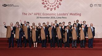 Japan–Peru relations - Japanese Prime Minister Shinzō Abe attending the 28th APEC Summit in Peru hosted by Peruvian President Pedro Pablo Kuczynski.