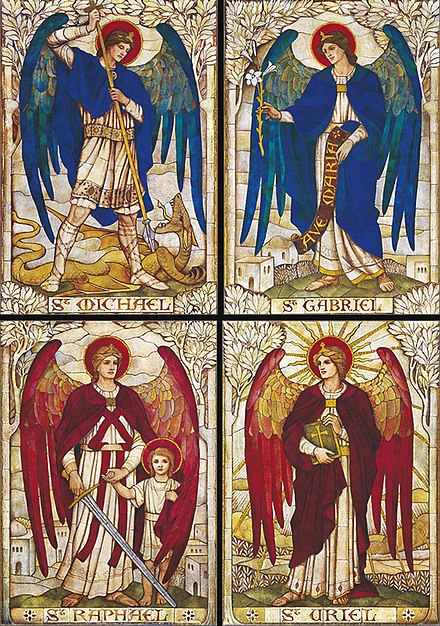 The four archangels, mosaics at St John's Church, Warminster Four Archangels, St John's Church, Warminster, Wiltshire.jpg