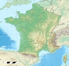 """Mapa konturowa Francji, po prawej nieco na dole znajduje się punkt z opisem """"Park Narodowy Mercantour"""""""