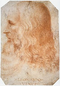 Photograph of a sketch portrait of Leonardo da Vinci