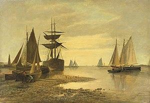 Frans Jacobus van den Blyk - Schepen de buurt van een haveningang.jpg