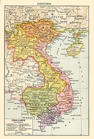 Postcolonialism - Map of French Indochina from the colonial period showing its five subdivisions: Tonkin, Annam, Cochinchina, Cambodia and Laos. (Click image for key)