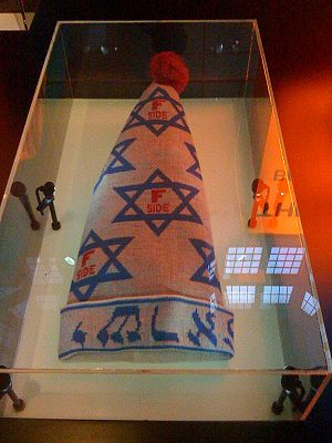 F-side - F-Side hat on display at the Jewish Historical Museum in Amsterdam.