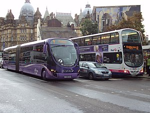 First Leeds - A First Leeds ftr bus (left) and a Wright Eclipse Gemini (right) on Vicar Lane in August 2010