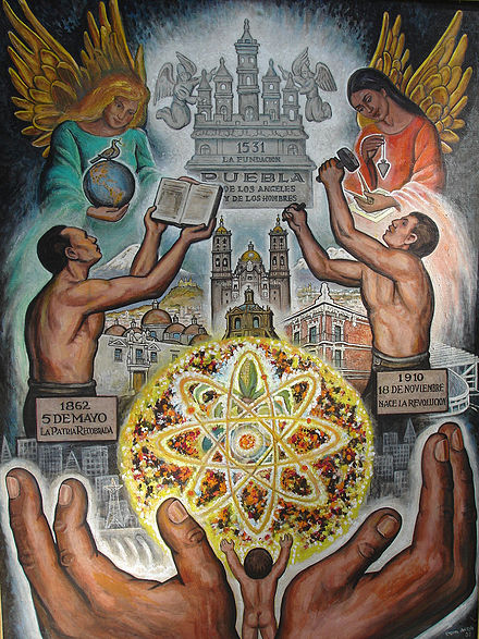 Mural of the founding of Puebla by Roberto Cueva Del Rio Fundacion Puebla.jpg