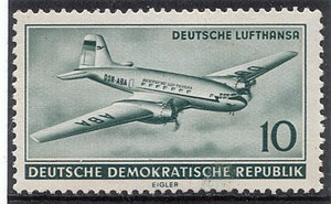 Stamp: Civil aviation in the GDR