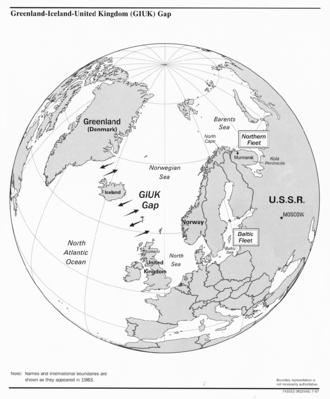 GIUK gap - The GIUK gap in the North Atlantic (showing international boundaries as of 1983)