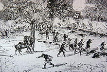 Pen and ink sketch of a sparse line of soldiers firing rifles at a larger force of soldiers charging at them. One of the oncoming soldiers carries the Confederate battle flag