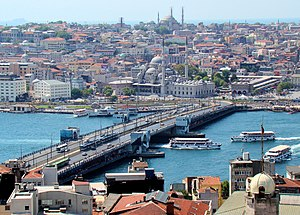 Galata Bridge - Galata Bridge on the Golden Horn, with Eminönü in the background, as seen from the Galata Tower.