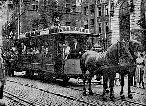 Horse-drawn vehicle - A horse tram (horsecar) in Danzig, Germany (present day Gdańsk, Poland)