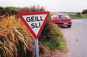 "Gaeltacht - Traffic sign, meaning ""Give Way"" or ""Yield"", in An Rinn, County Waterford"