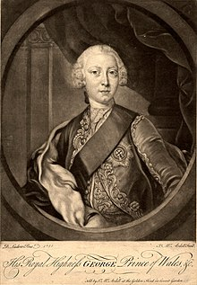 Half-length monochrome portrait of a young clean-shaven man wearing a sash, a finely-embroidered jacket, the star of the Order of the Garter, and a powdered wig.