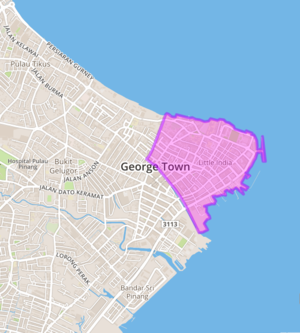 George Town proper location map