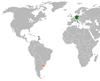 Lage von Deutschland und Uruguay
