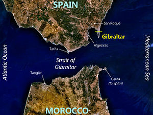 Satellite view of the Strait of Gibraltar, with key locations marked