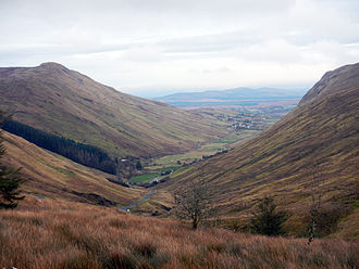 Ardara, County Donegal - Glengesh Pass looking NE through glacial valley into Ardara