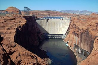 Glen Canyon Dam - Glen Canyon Dam and Bridge, looking upstream