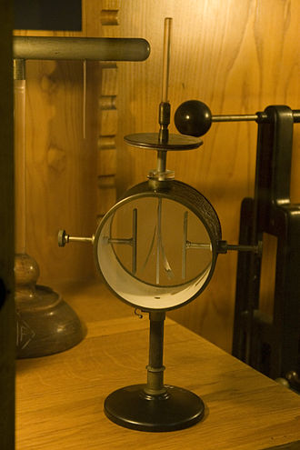 Electroscope - Image: Gold leaf electroscope 2
