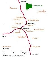 Kalgoorlie - Wikipedia on hay point australia map, proserpine australia map, tennant creek australia map, cape byron australia map, auckland australia map, sawtell australia map, wittenoom australia map, hamersley range australia map, penguin island australia map, wollongong australia map, dunedin australia map, australian capital territory australia map, rottnest australia map, wellington australia map, katanning australia map, merimbula australia map, dandenong ranges australia map, echuca australia map, torres strait islands australia map, lake argyle australia map,