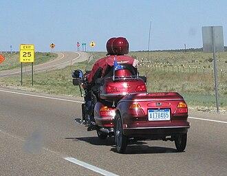 Motorcycle trailer - A Honda Goldwing towing a trailer