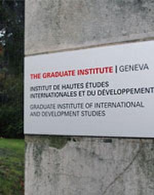 Graduate Institute of International and Development Studies - IHEID's later logo at Villa Barton's main gate.