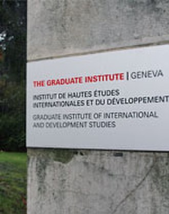 Graduate Institute of International and Development Studies - IHEID's later logo at Villa Barton's main gate.