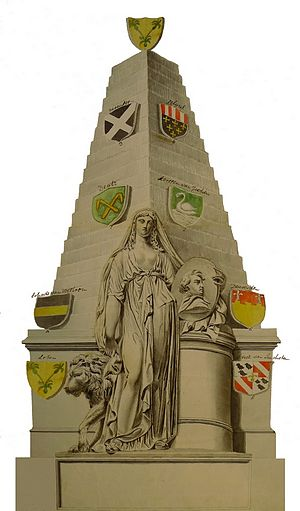 Joan Gideon Loten - Watercolour by unknown artist of the monument erected in the memory of J .G. Loten in the Westminster Abbey.