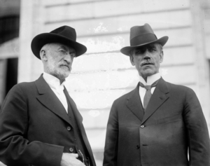 Reed Smoot - Smoot (right) with Heber J. Grant, president of the LDS Church, c. 1918–1920.