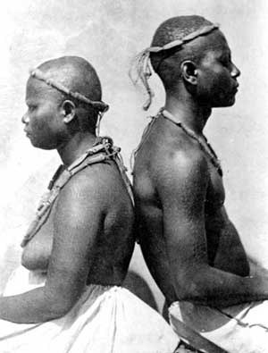 Negrito - Great Andamanese couple in the Andaman Islands (1876)