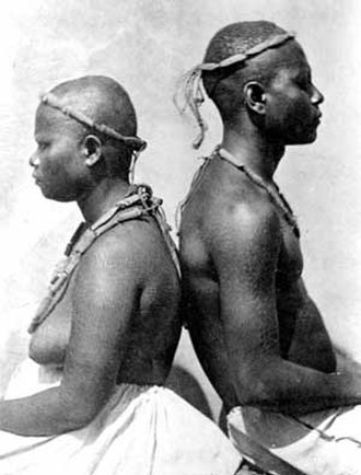 Negrito - Great Andamanese couple in the Andaman Islands, India (1876)