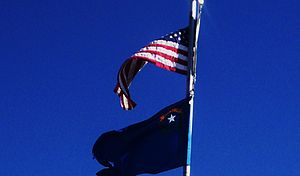 Flag of Nevada - A Nevadan state flag flying at the Great Basin National Park, underneath a U.S. flag.