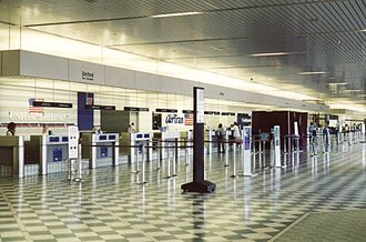 Greater Rochester International Airport - ROC's ticketing lobby, seen in September 2002